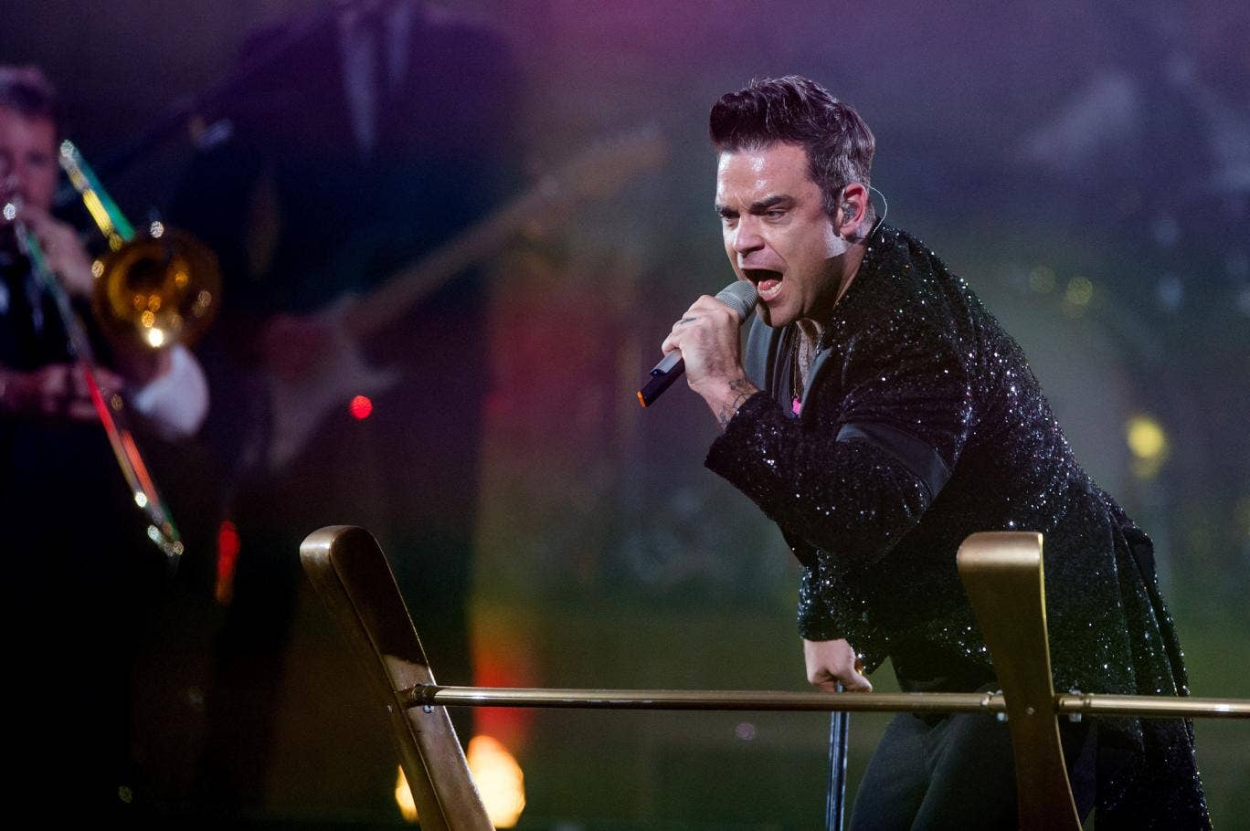 Robbie Williams performs in Amsterdam as part of his 'Take the Crown' tour 2013