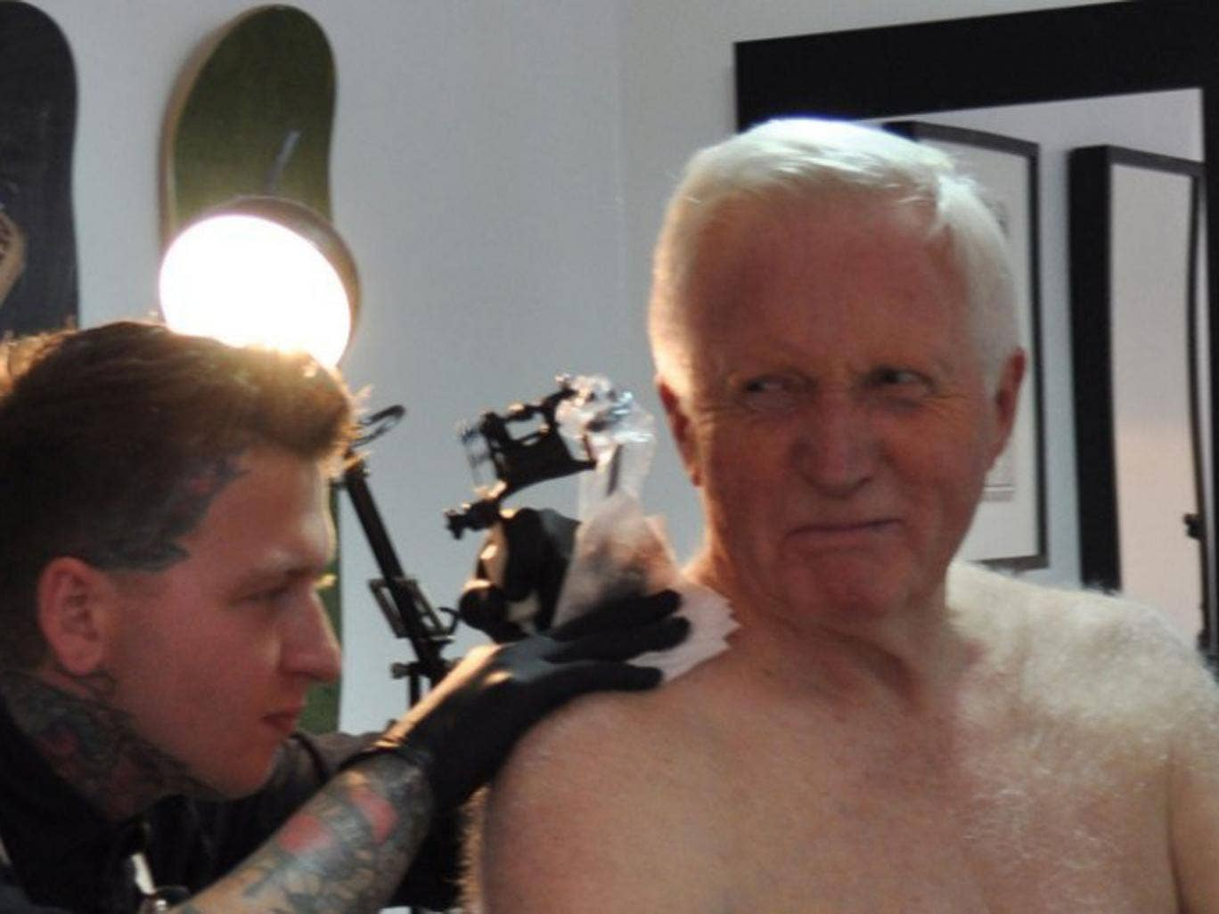 Dimbleby visited the Vagabond tattoo studio in east London, followed by cameramen for the 30-minute procedure