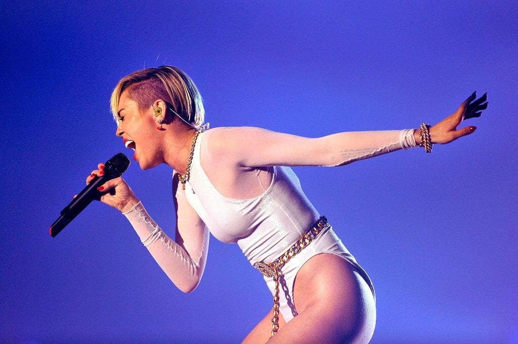 Miley Cyrus performs on stage during the MTV EMA's 2013 at the Ziggo Dome in Amsterdam
