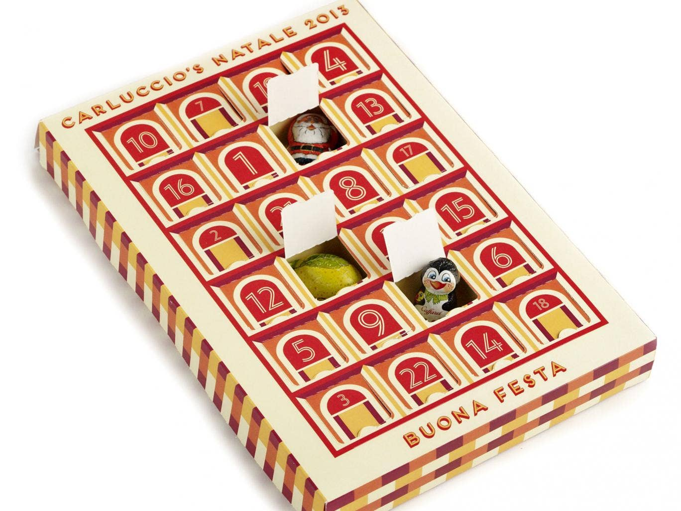 <b>5. Carluccios Beuno Festa</b> This is the first year Carluccio's has produced an advent calendar and it was worth the wait. Besides the beautiful packaging, inspired by the colours of Bologna, each window reveals high-quality, foil wrapped chocolate in