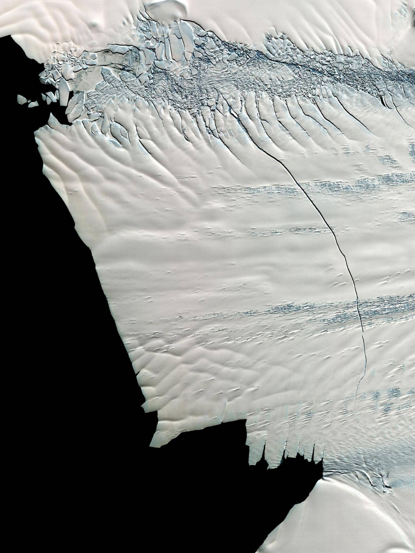 An image captured in November 2011 by NASA's Terra spacecraft, showing the crack developing on the Pine Island Glacier. The iceberg has separated from the sheet in the past few days