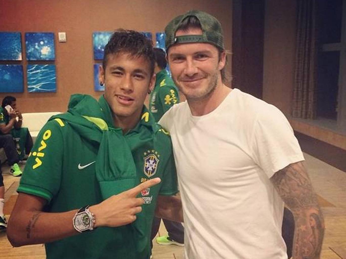 Neymar with David Beckham