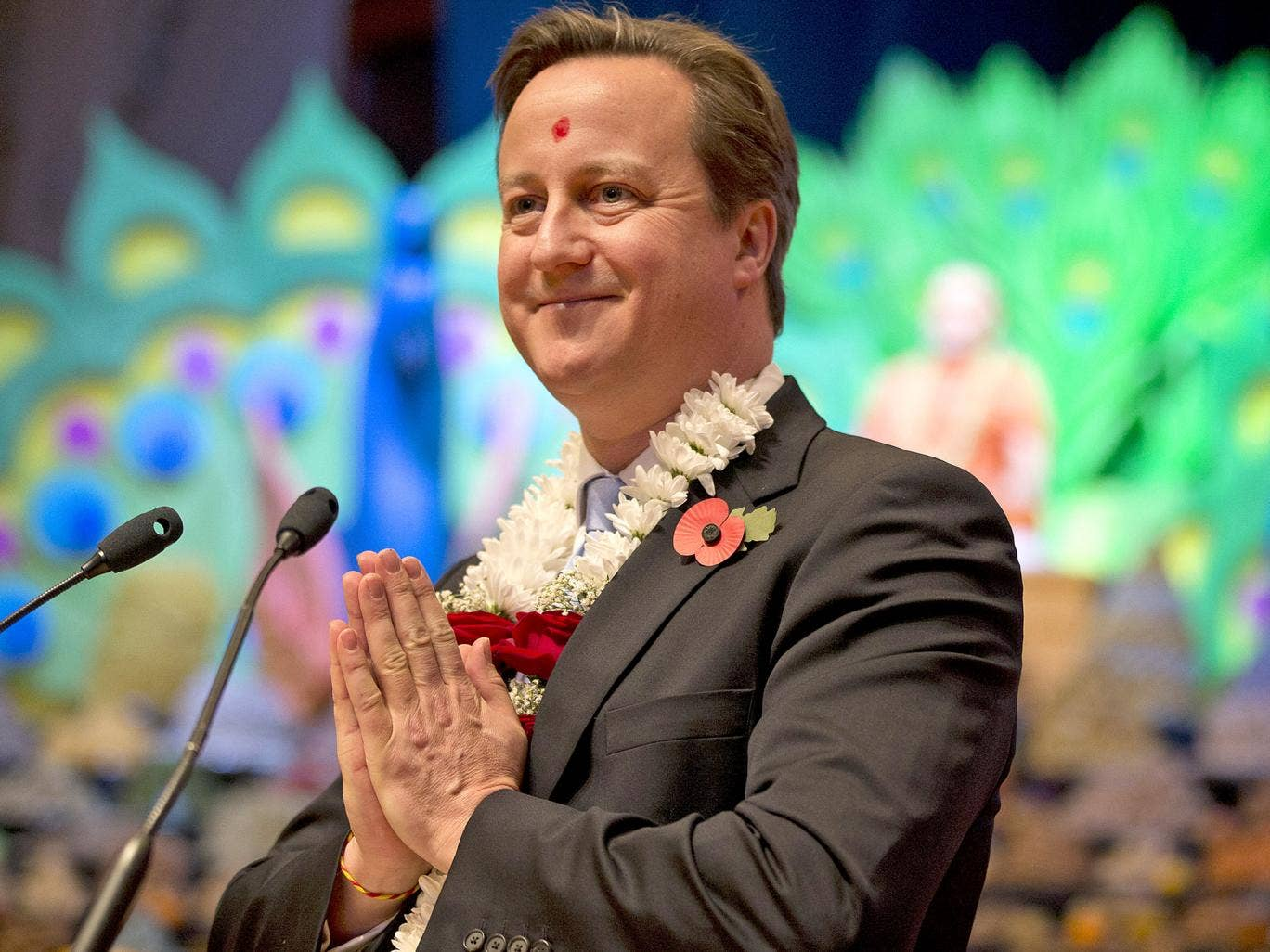 David Cameron taking part in a ceremony at the Hindu temple Shri Swaminarayan Mandir in London, earlier this month
