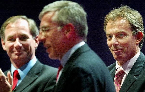Tony Blair, right, with former Defence Secretary Geoff Hoon, left, and former Foreign Secretary Jack Straw, in 2003