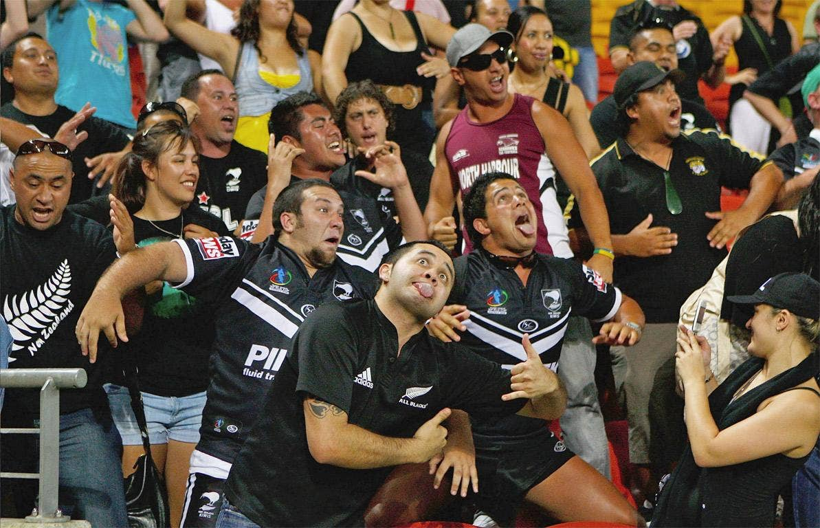 Kiwis fans perform the Haka after winning the 2008 World Cup (but with an All Blacks shirt in the foreground)