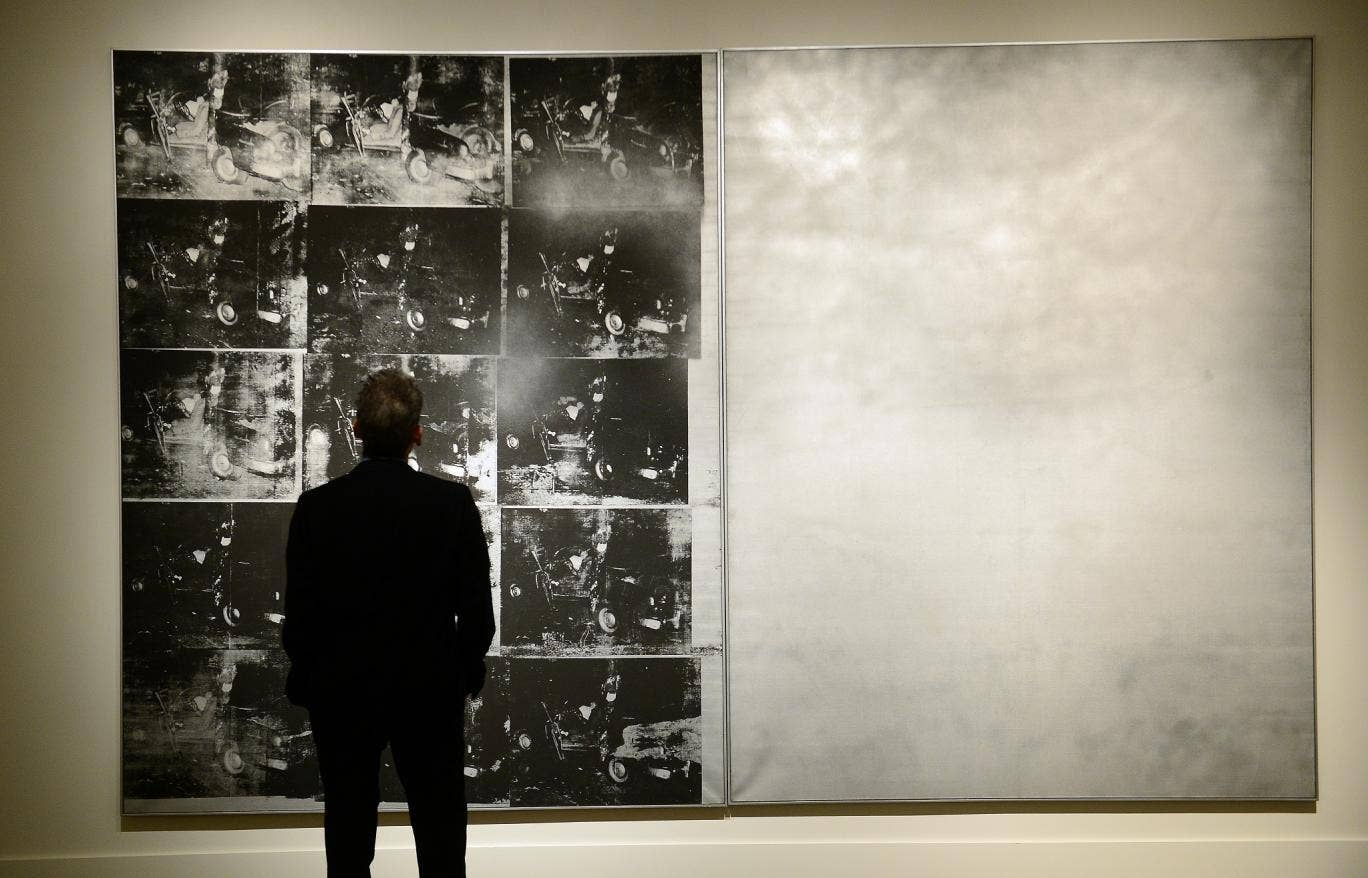 """Andy Warhol's """"Silver Car Crash"""" sold for $105m at auction in New York"""