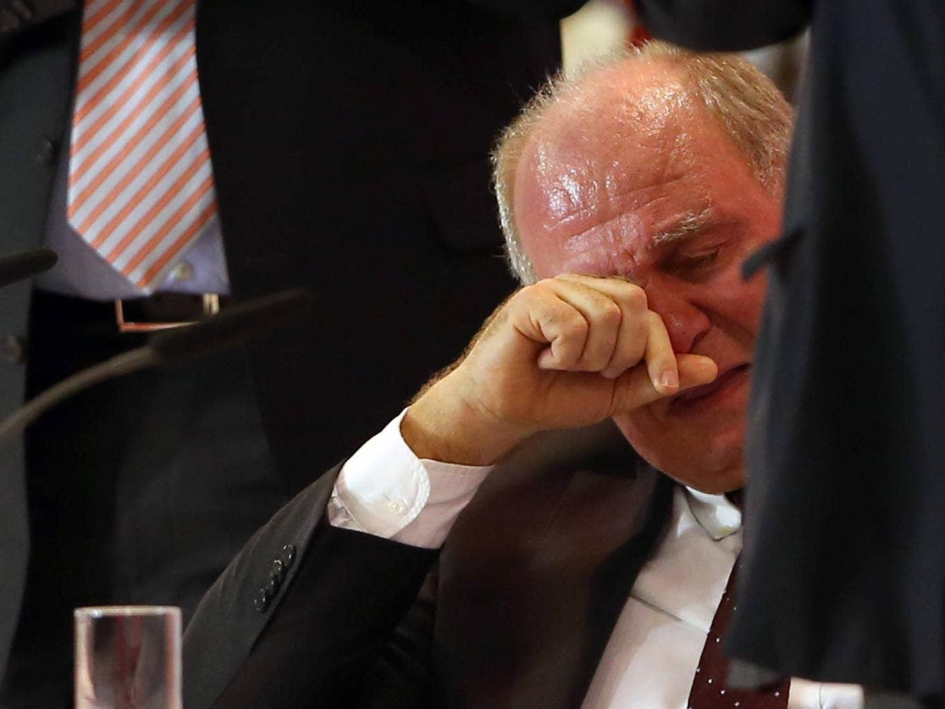 Bayern Munich president Uli Hoeness is reduced to tears at the club's annual general meeting