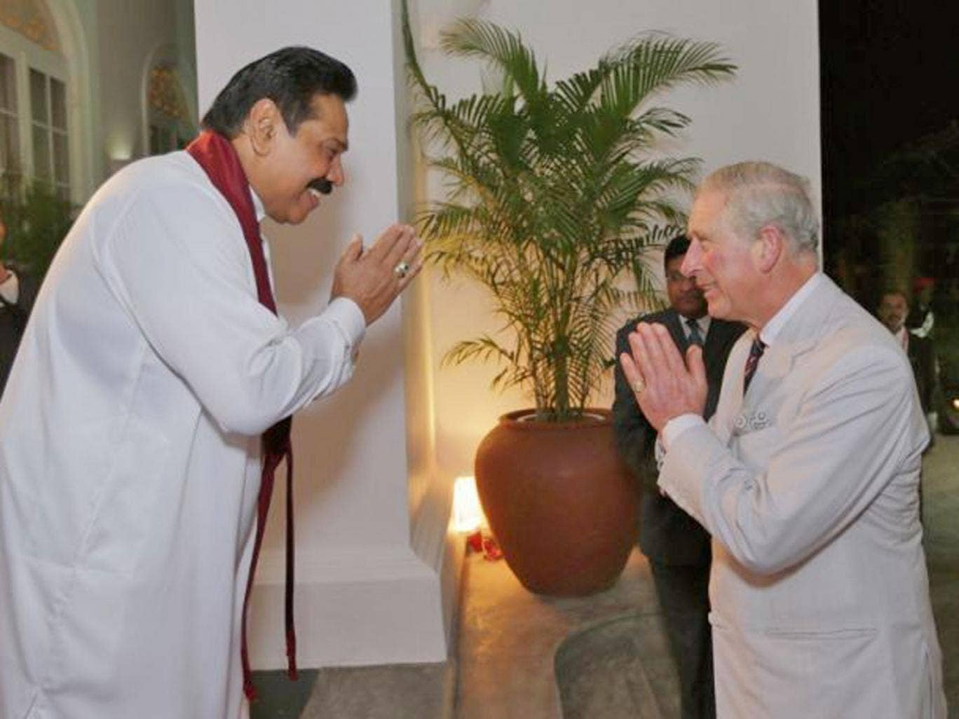 14 November 2013: Sri Lankan President Mahinda Rajapaksa greets Prince Charles during a reception at the President's House in Colombo, Sri Lanka. The Royal couple are visiting Sri Lanka in order to attend the 2013 Commonwealth Heads of Government Meeting