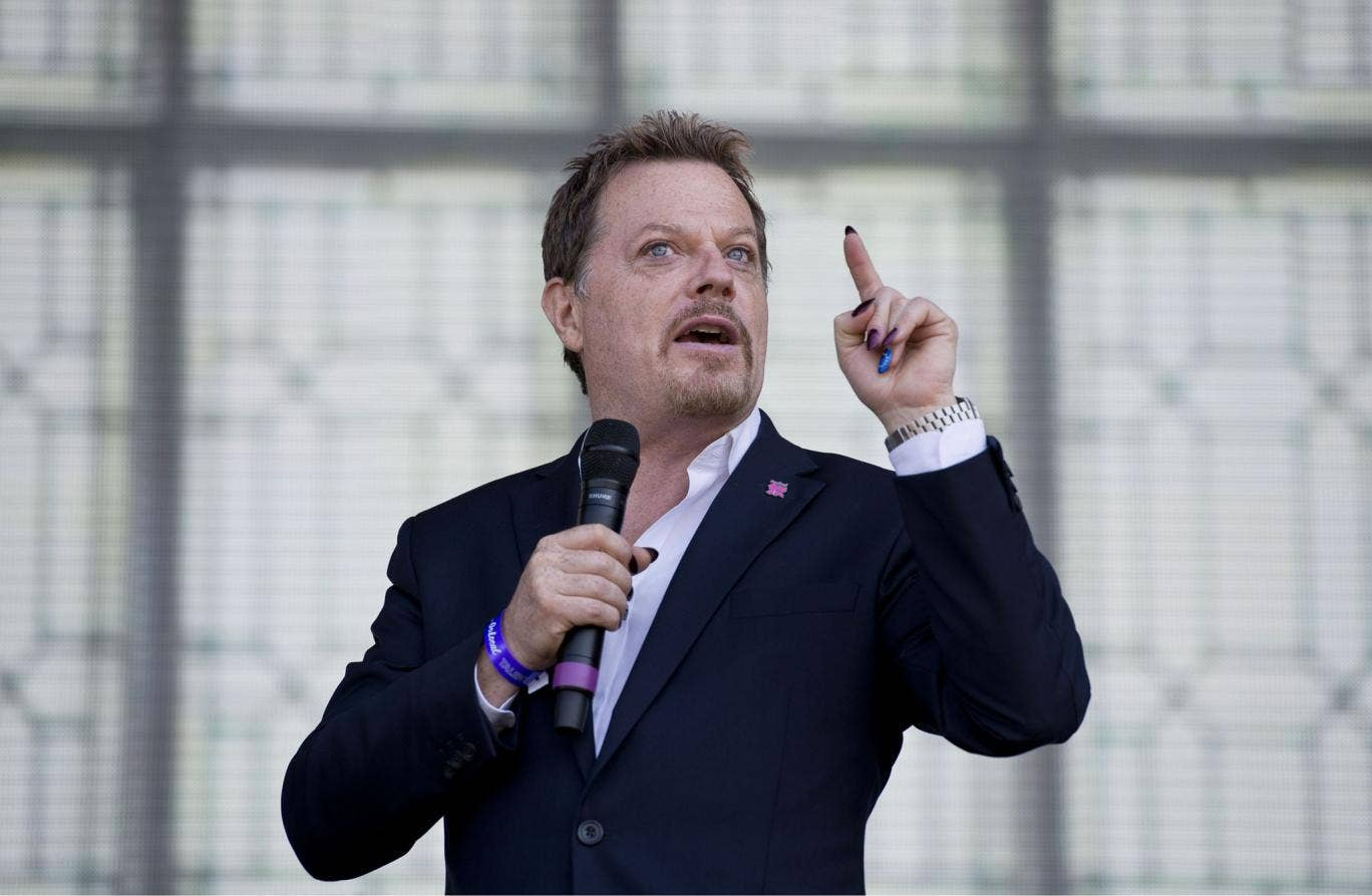 Eddie Izzard performs at the 'Go Local' festival at the Queen Elizabeth Olympic Park, July 2013