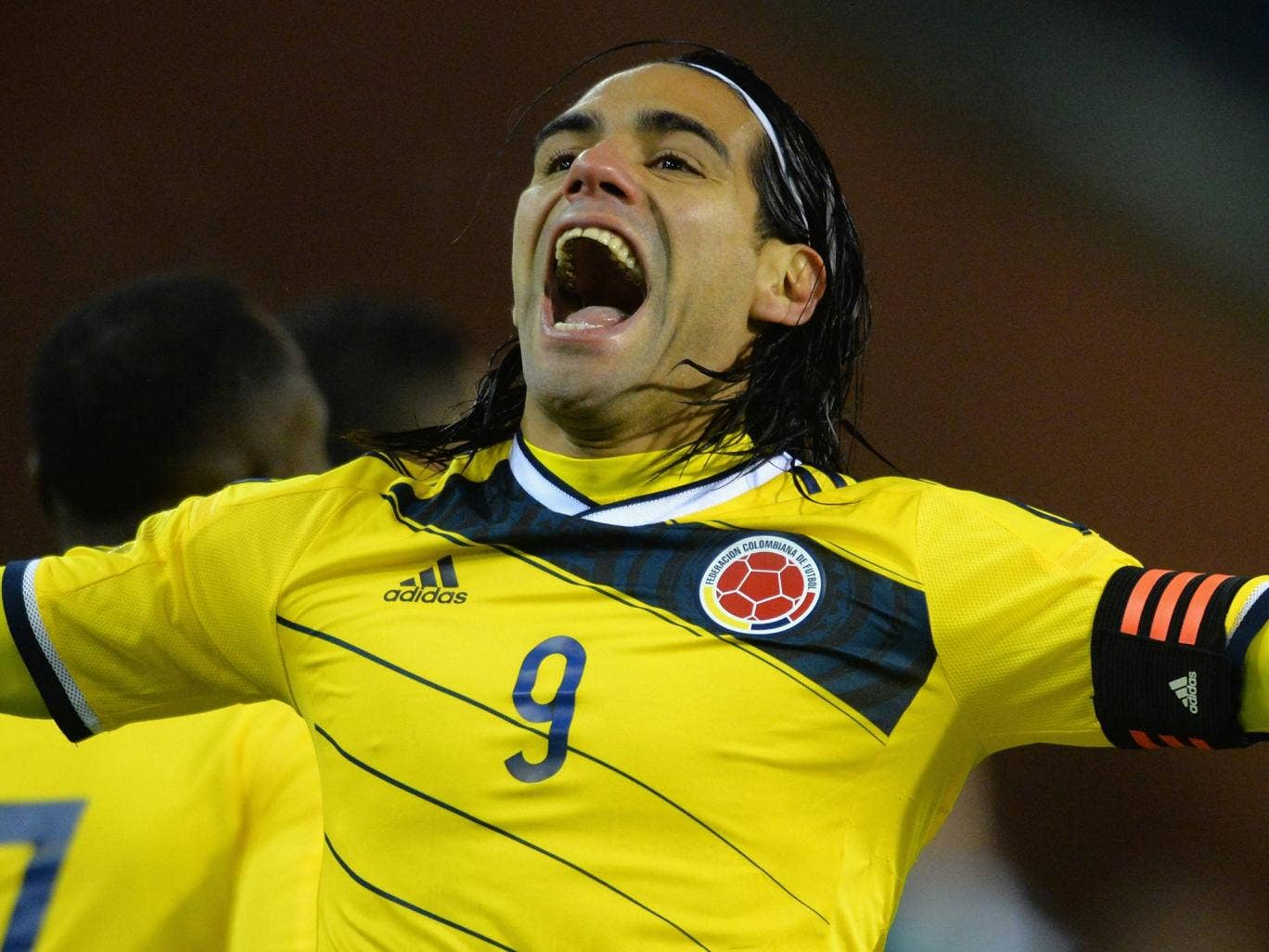 Radamel Falcao celebrates a goal for Colombia against Belgium
