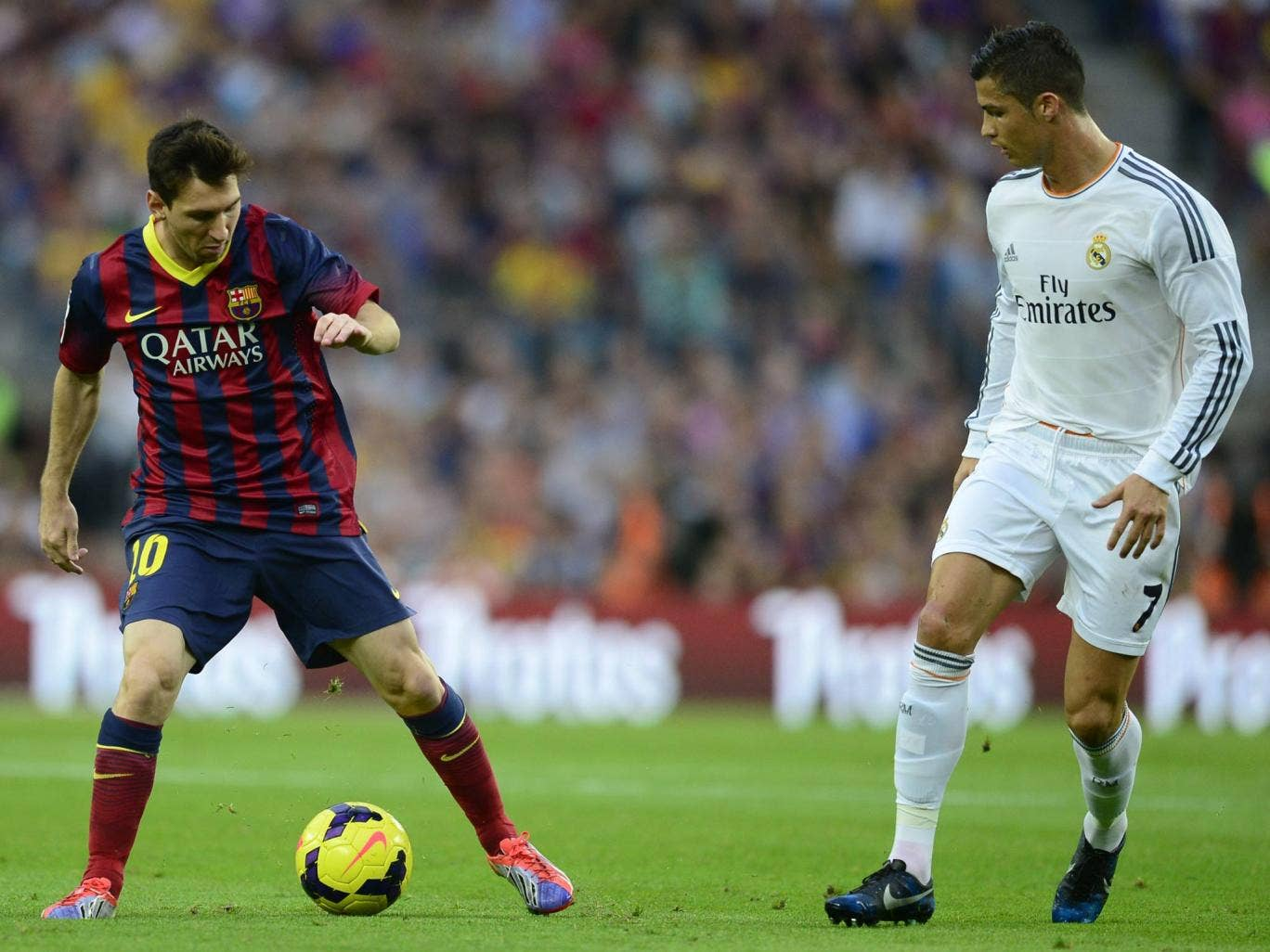 Lionel Messi and Cristiano Ronaldo pictured in October's El Clasico