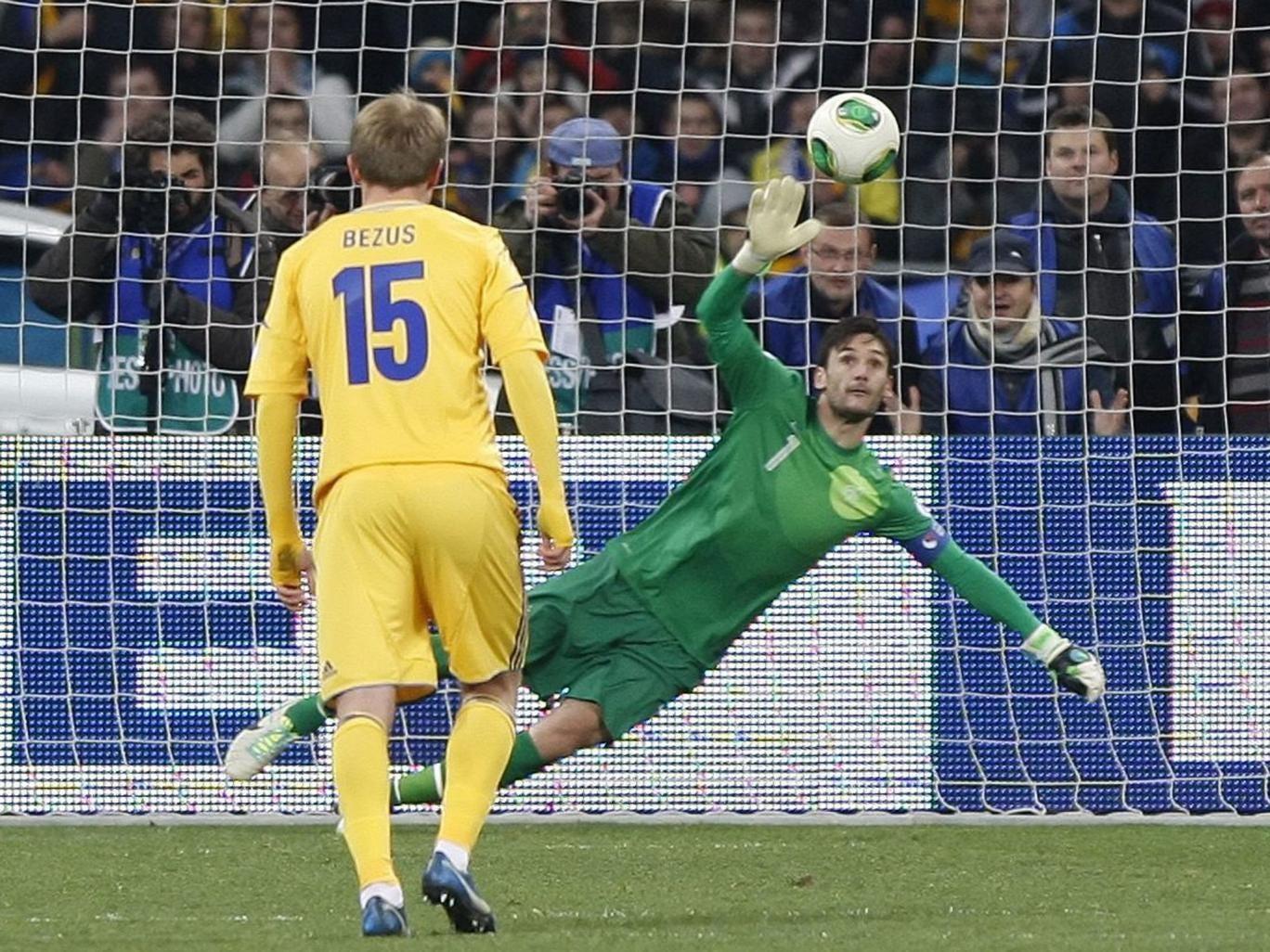 Hugo Lloris cannot keep out Ukraine's penalty