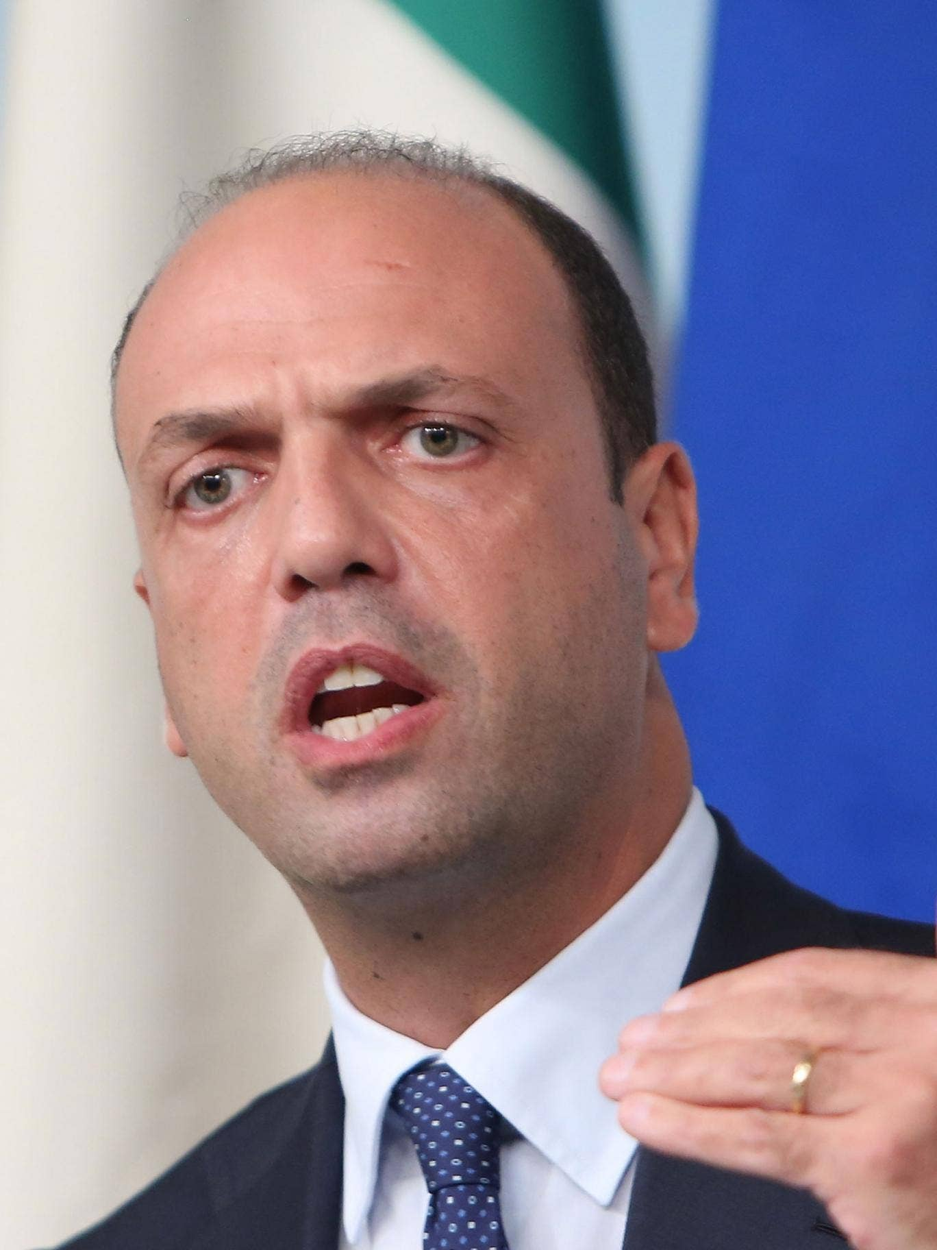 Deputy Prime Minister and Interior Minister Angelino Alfano of the PDL attends a press conference at Palazzo Chigi on October 9, 2013