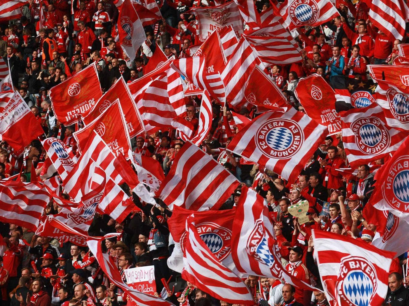 Crowds support Bayern Munich at a recent match