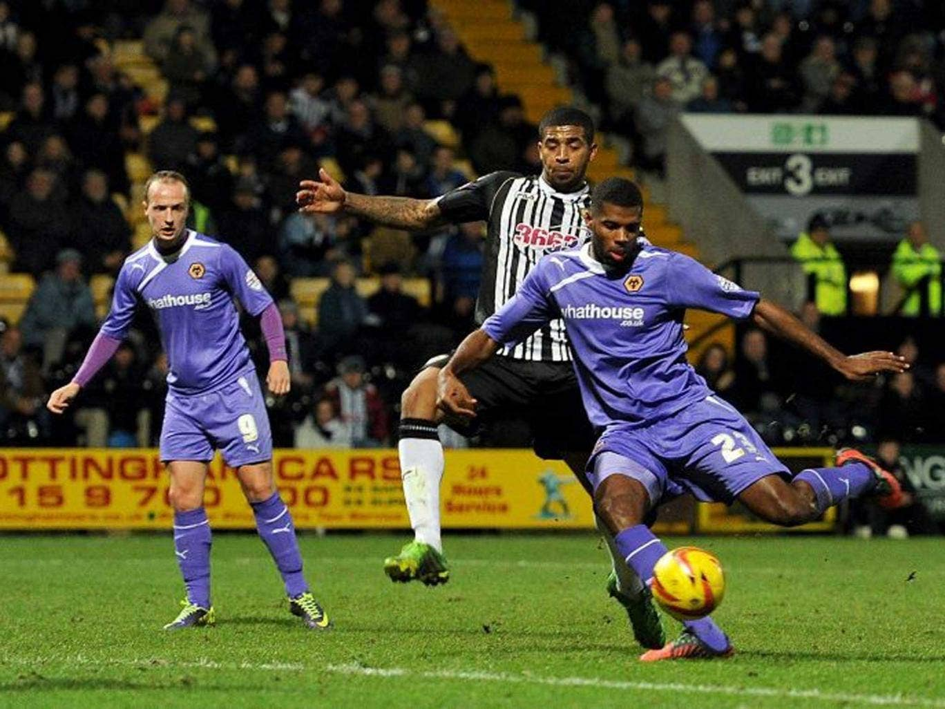 Clean strike: Ethan Ebanks-Landell volleys the winning goal for Wolves
