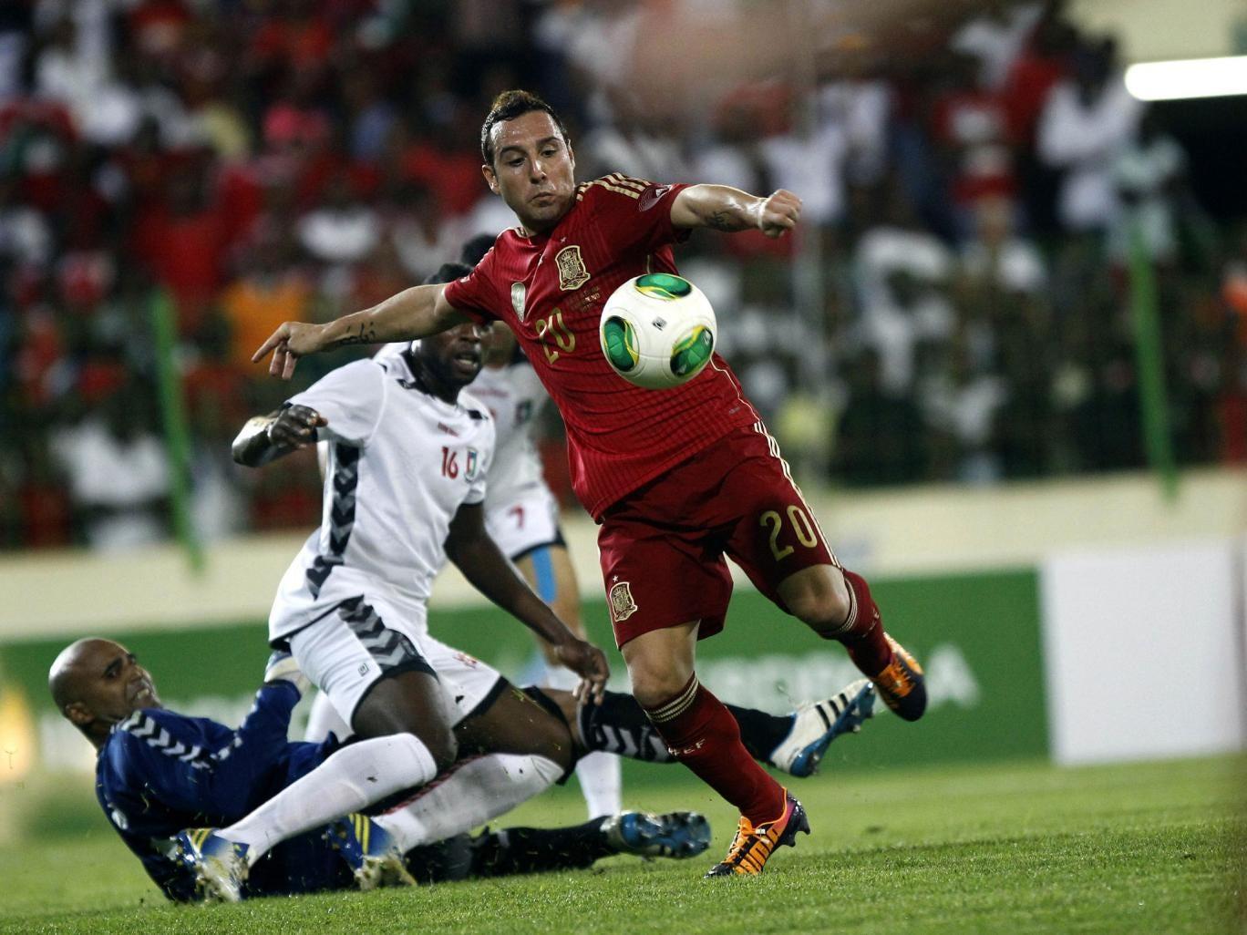 Santi Cazorla scores for Spain in their 2-1 win over Equatorial Guinea in Malabo