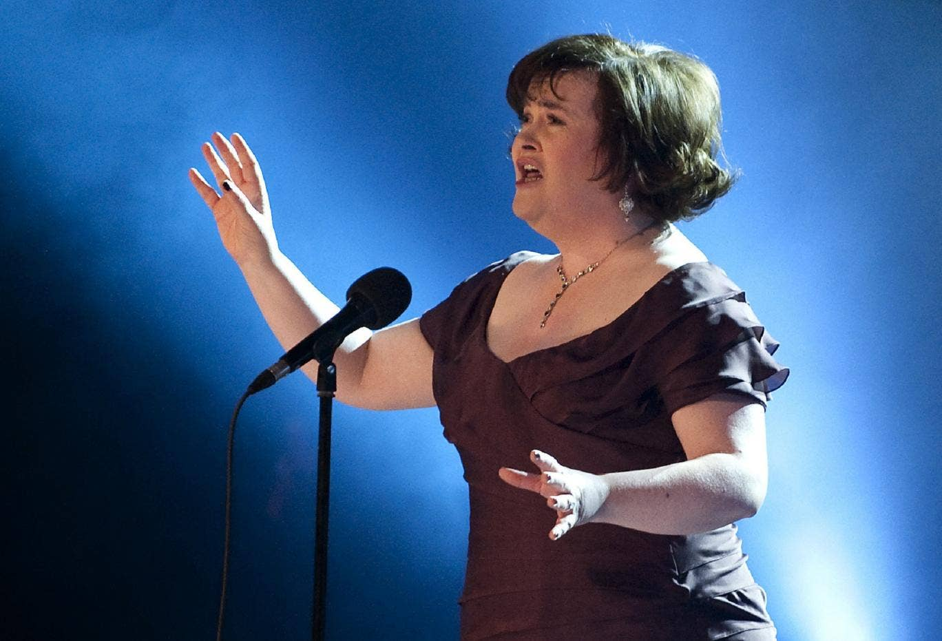 Susan Boyle, here performing 'I Dreamed A Dream', has tipped Meryl Streep to play her in a film about her life