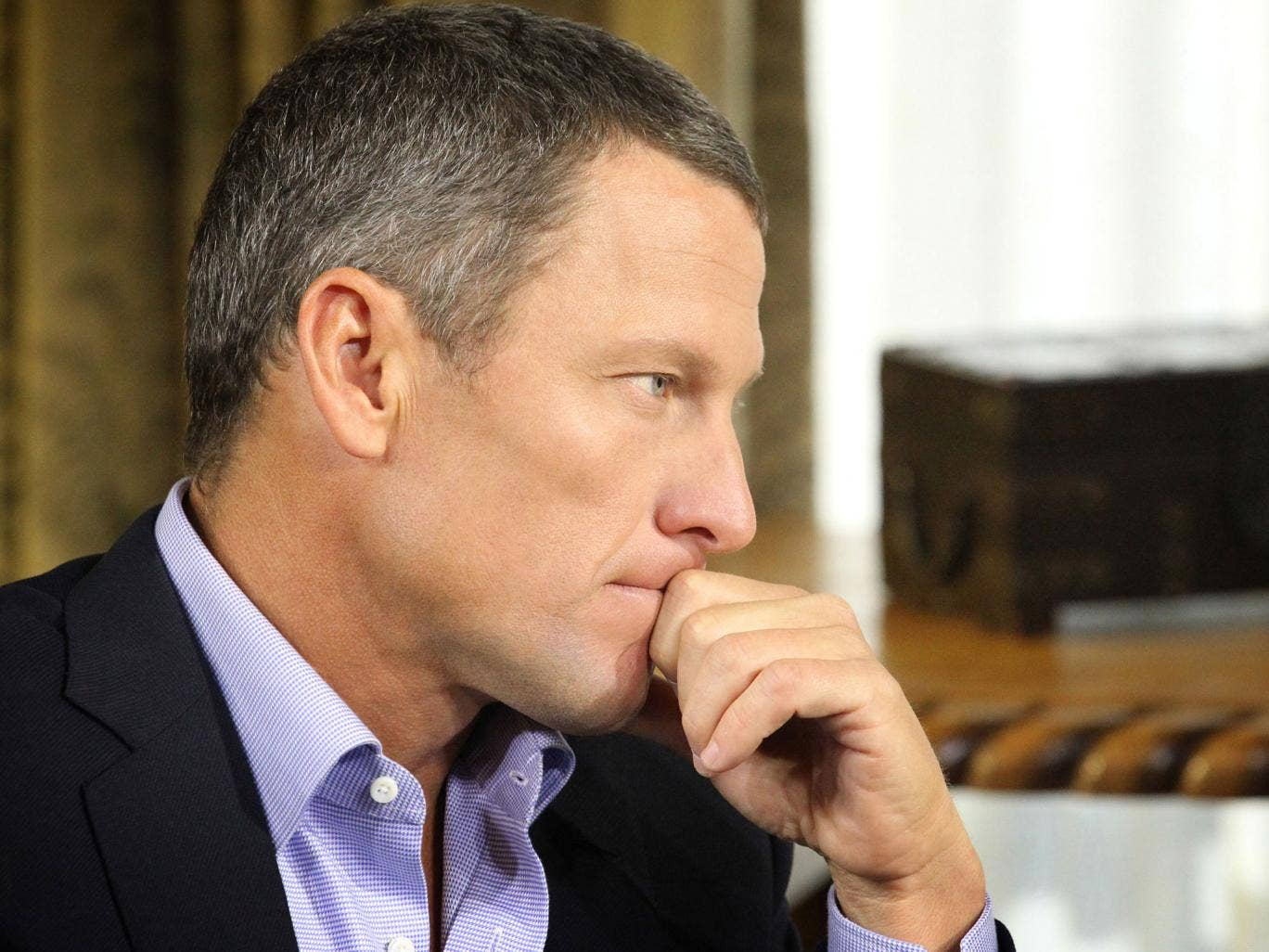 Lance Armstrong pictured during his interview with Oprah Winfrey