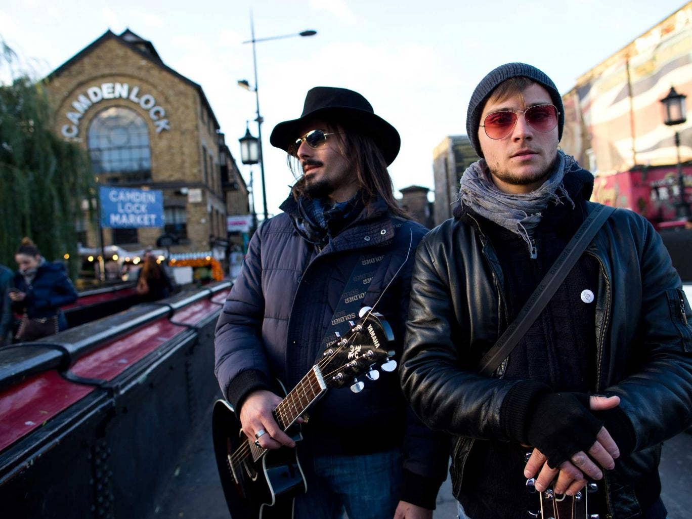 Buskers perform in Camden