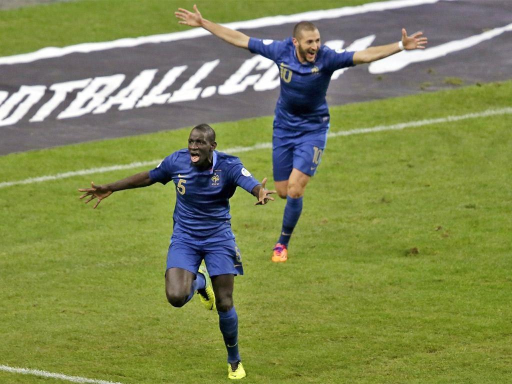 Mamadou Sakho celebrates scoring France's first goal