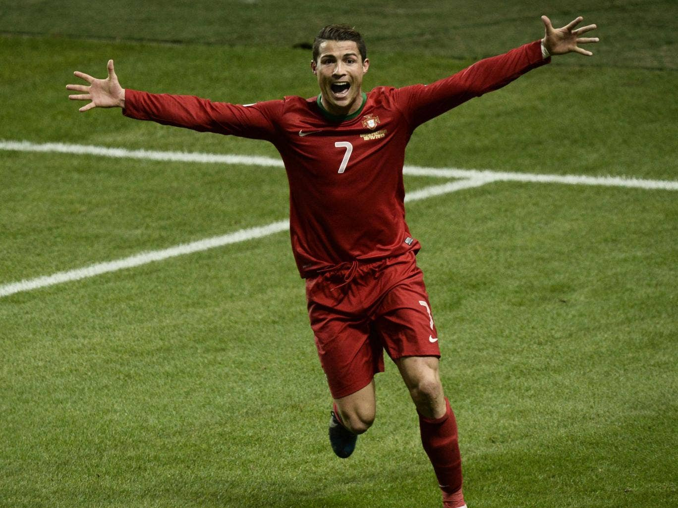Cristiano Ronaldo celebrates after his hat-trick took Portugal to the World Cup