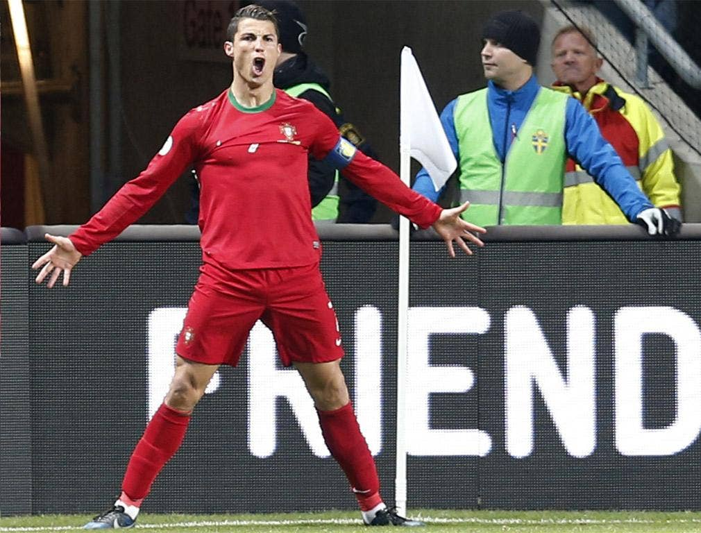 Cristiano Ronaldo celebrates one of his goals against Sweden on Tuesday night