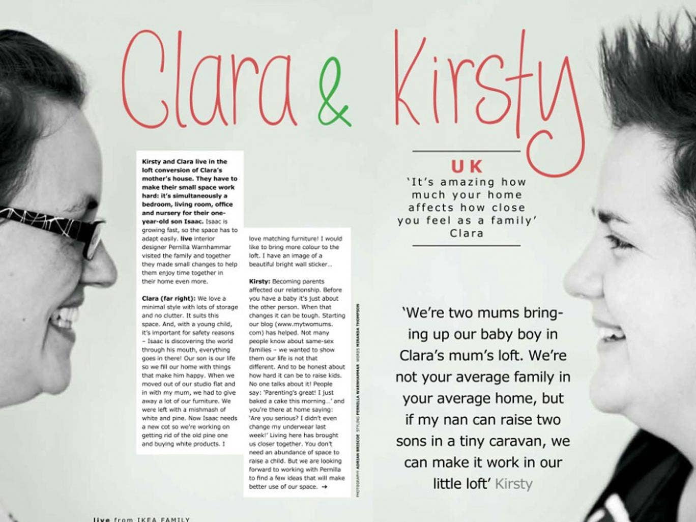 Ikea removed the above article about Clara and Kirsty, a lesbian couple from Dorset, from the Russian edition of its monthly magazine