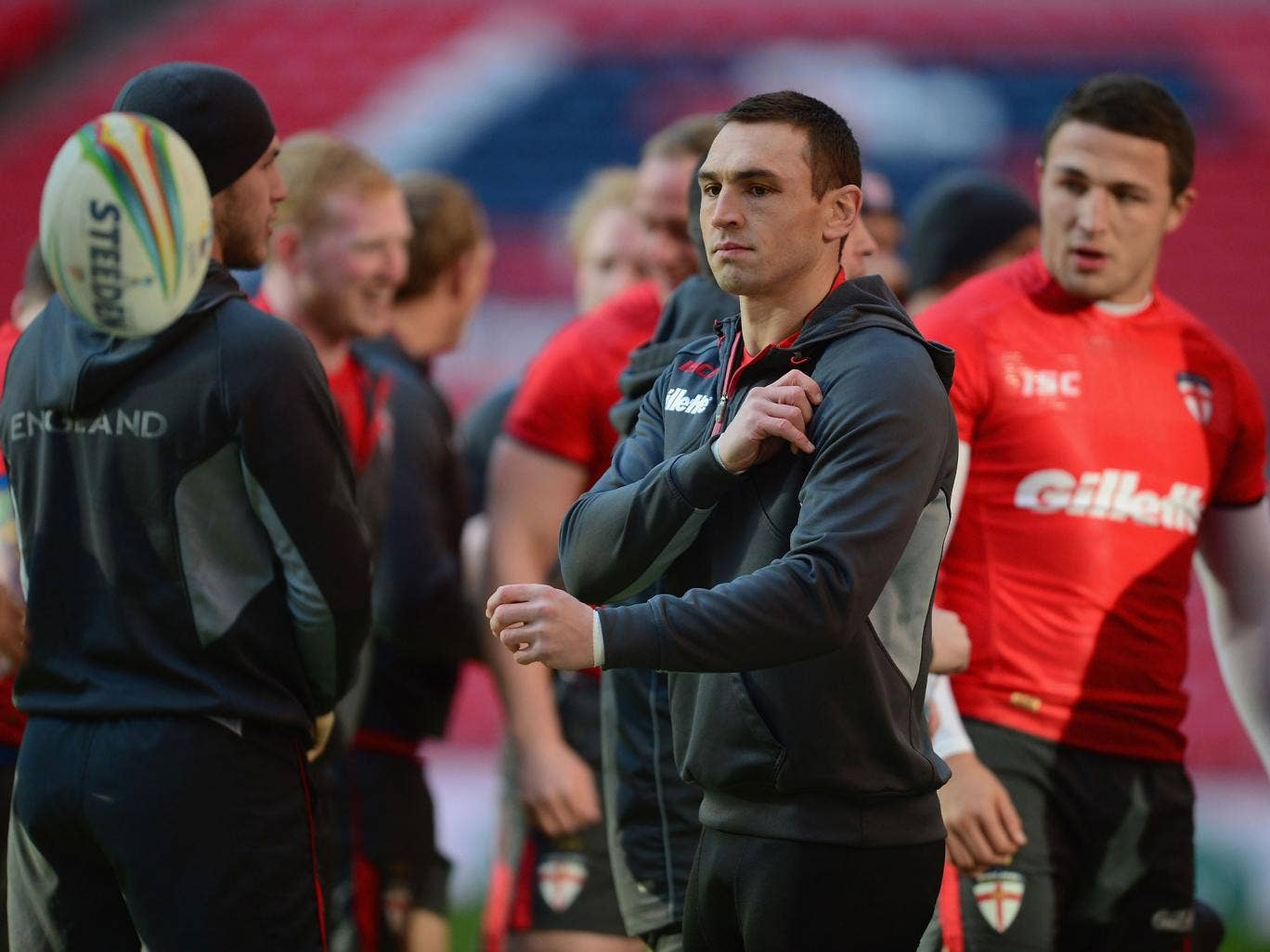 England captain Kevin Sinfield training at Wembley