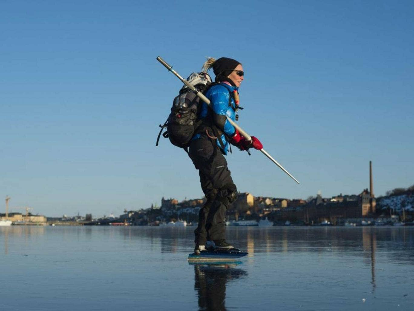 Walk on water: Ice skating on a frozen bay off Sweden's coast