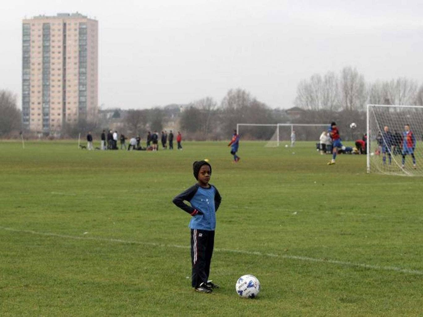 Home turf: The pitches of Hackney Marshes, where David Beckham honed his skills, have long been a home for amateur footballers