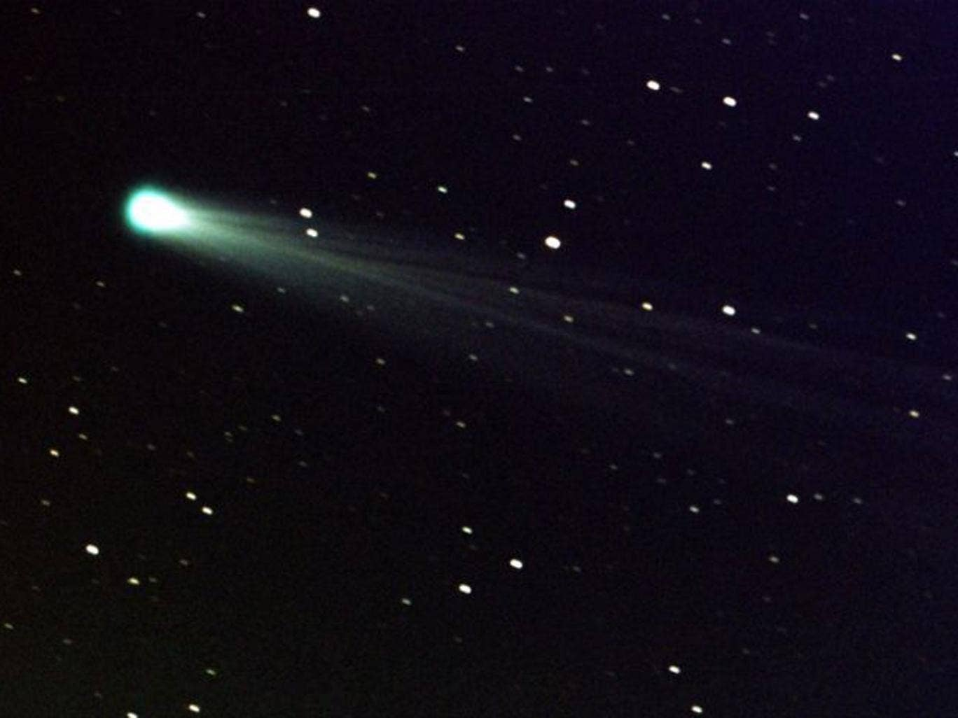 Comet ISON shows off its tail.