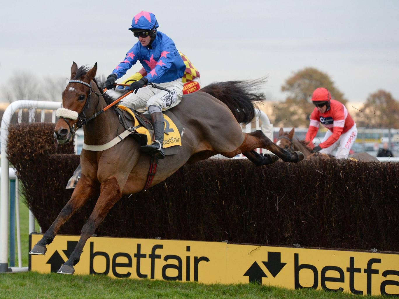 Cue Card puts in a trademark leap for Joe Tizzard in winning the Betfair Chase at Haydock