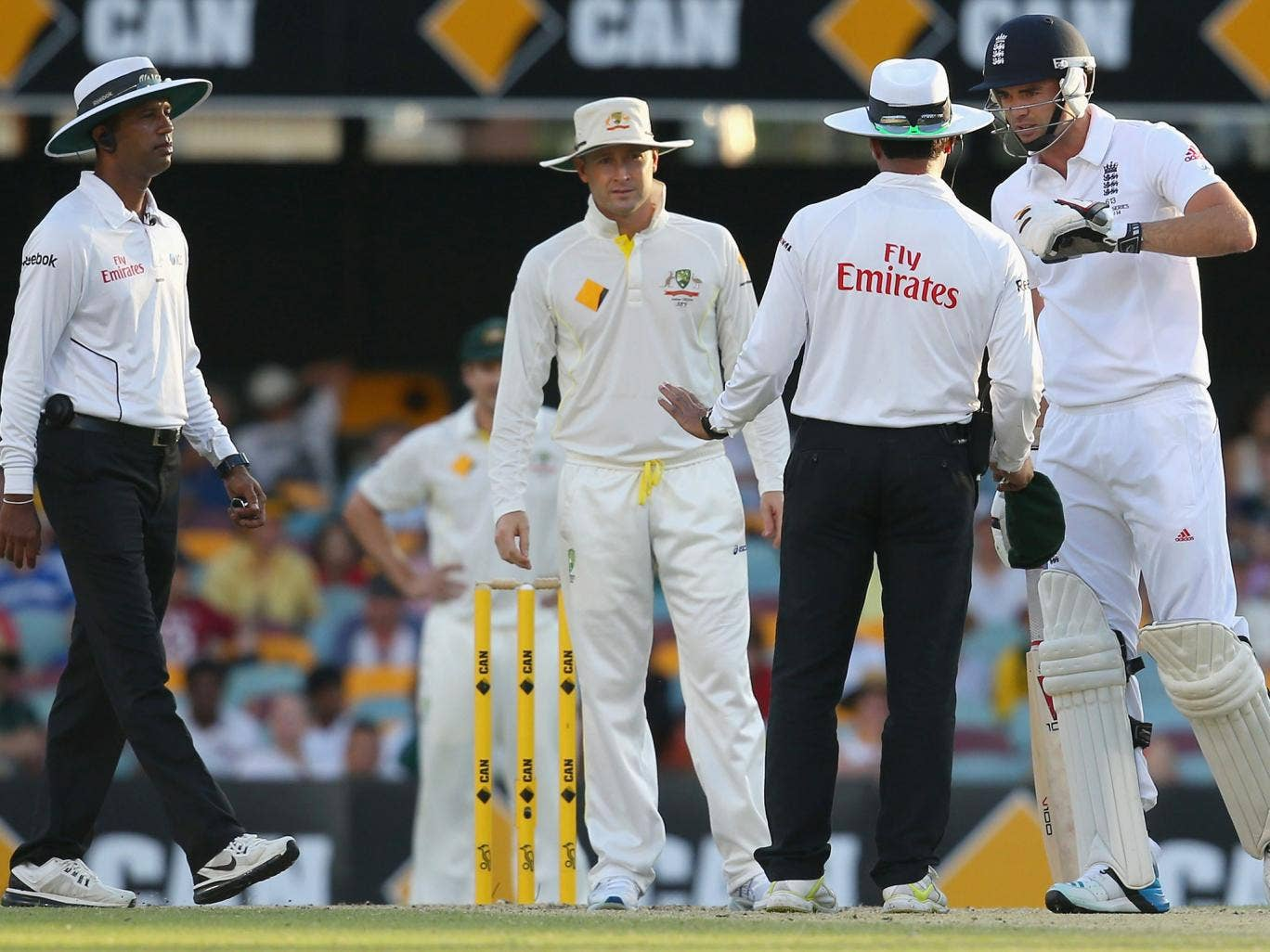 The umpires and James Anderson have words following the Englishman's spat with Michael Clarke