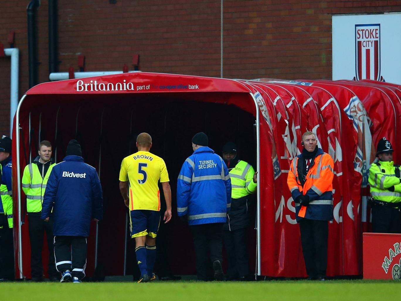 Sunderland defender Wes Brown leaves the field after being shown a red card in the game against Stoke City