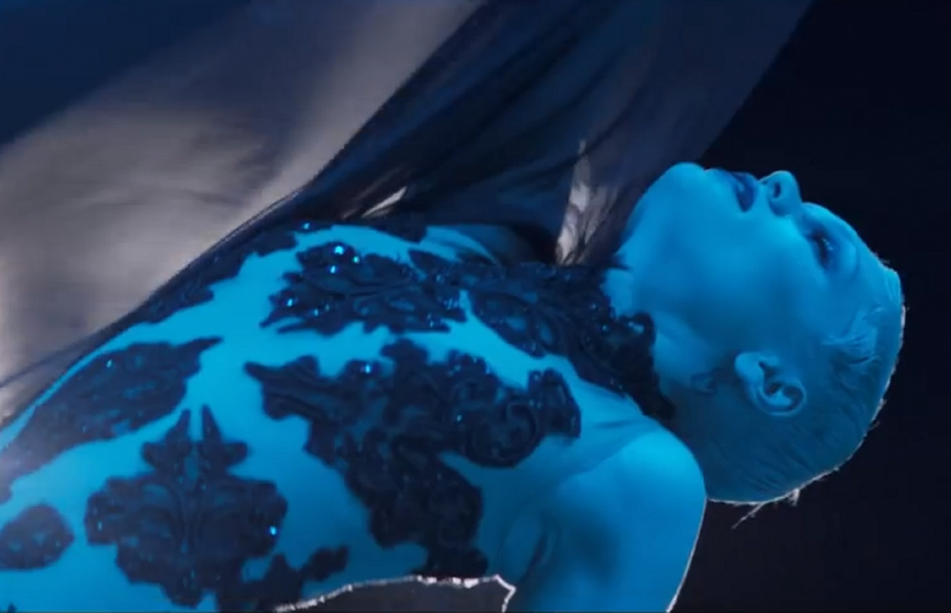 "Jessie J performs in her new music video for ""Thunder"" dressed in a semi-sheer bodysuit"