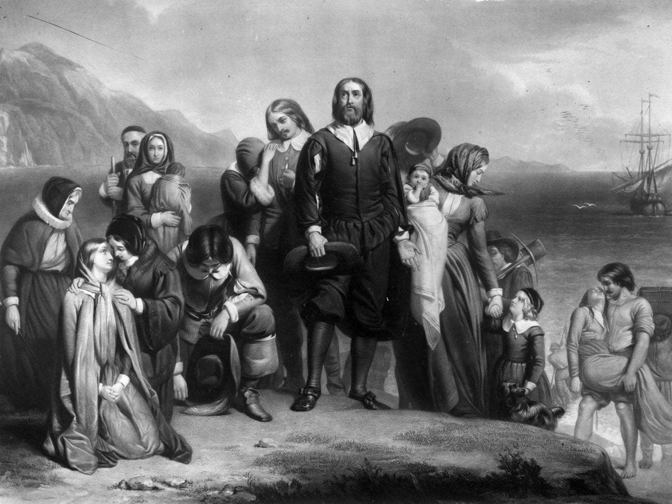 19th November 1620, The Pilgrim Fathers arriving on the Mayflower and landing in New England, where they founded the Plymouth Colony