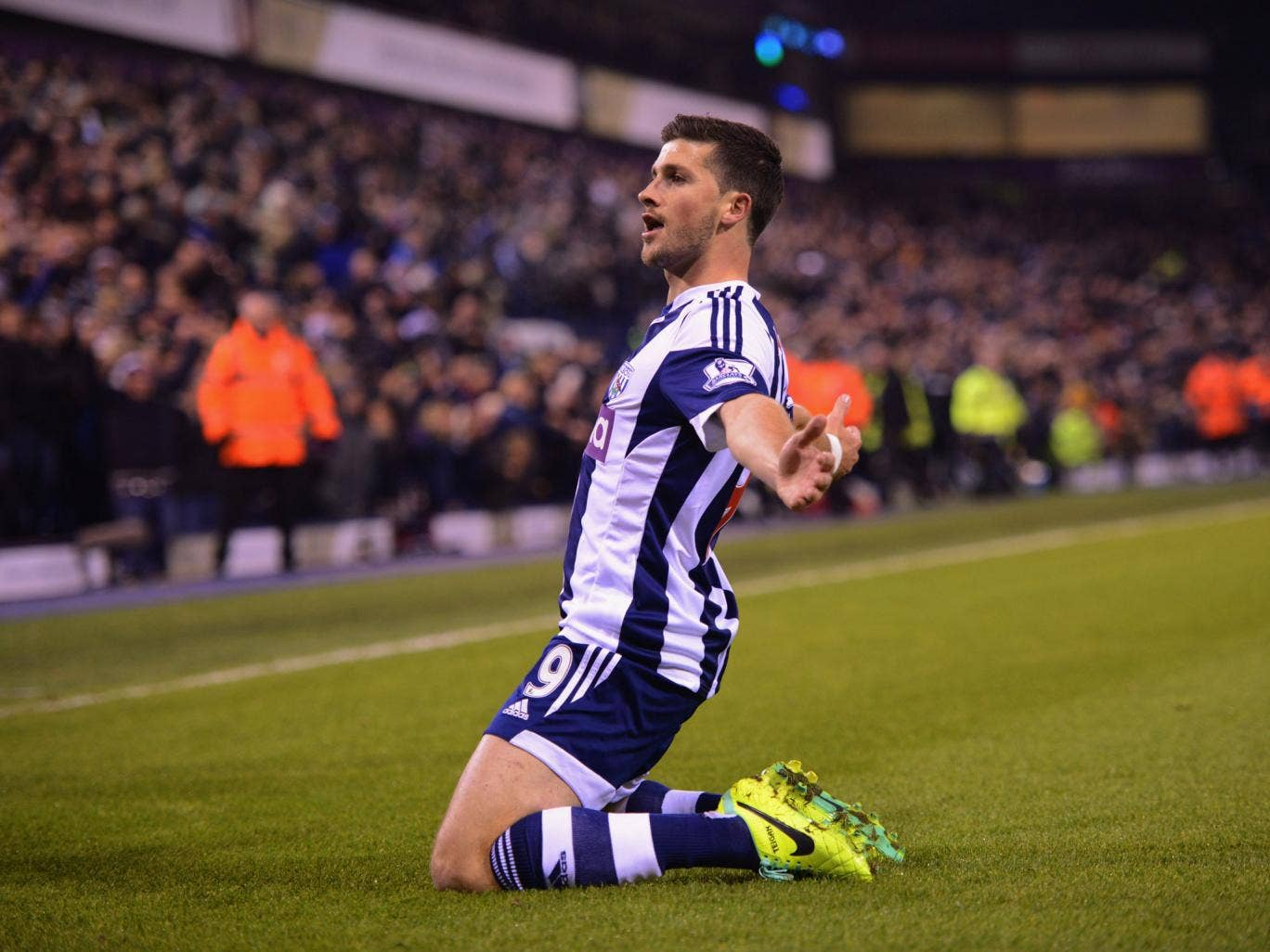 Shane Long celebrates as he scores West Bromwich's second goal