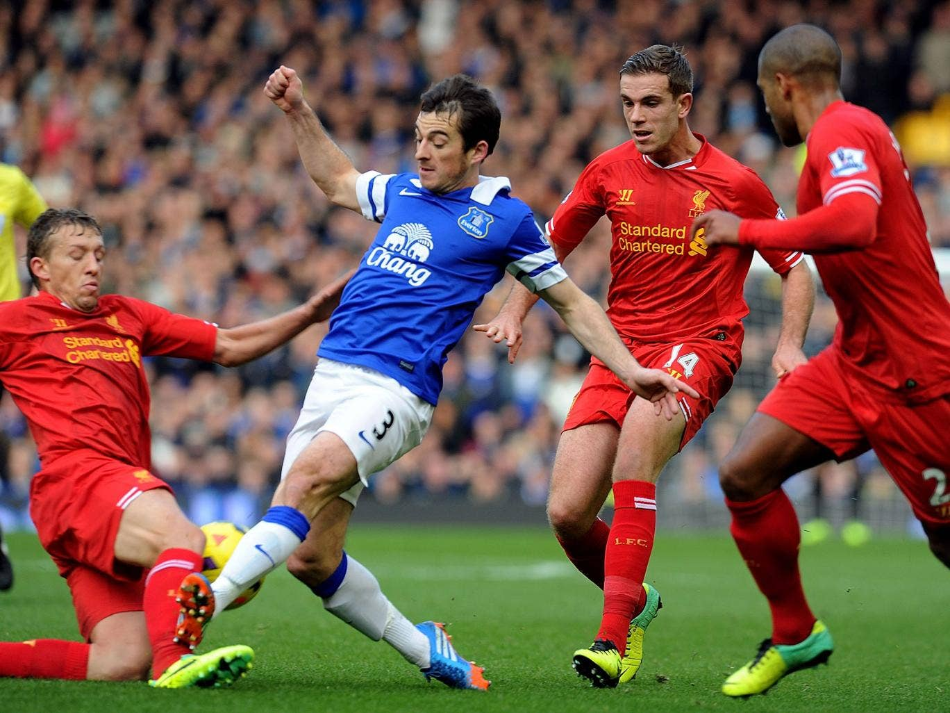 Leighton Baines has been ruled out for up to six weeks after suffering a broken foot