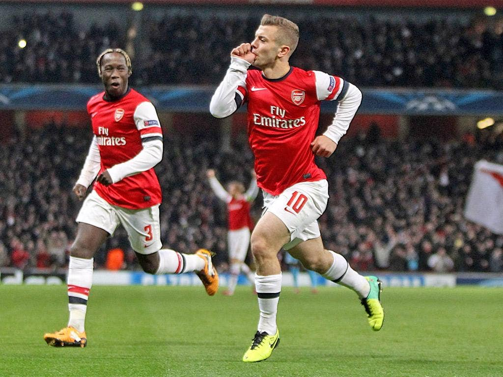 Jack Wilshere celebrates scoring Arsenal's first goal