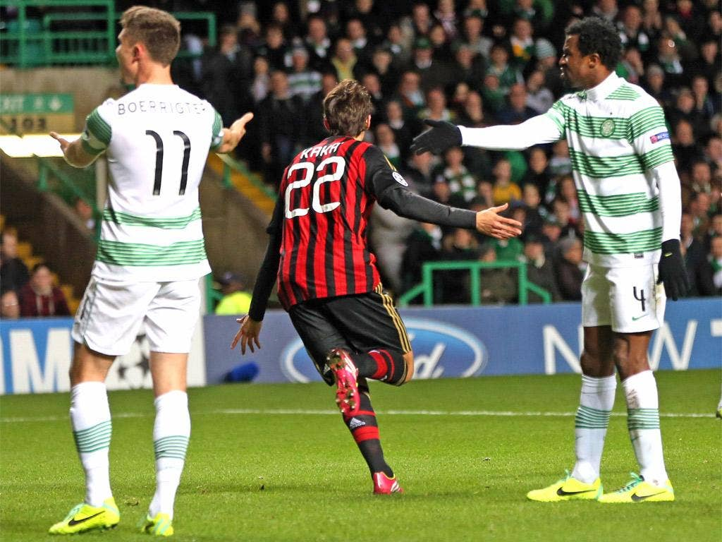 Celtic players protest as Kaka celebrates giving Milan the lead
