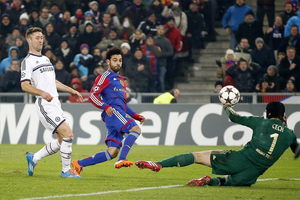 Mohamed Salah scores the winning goal for Basel
