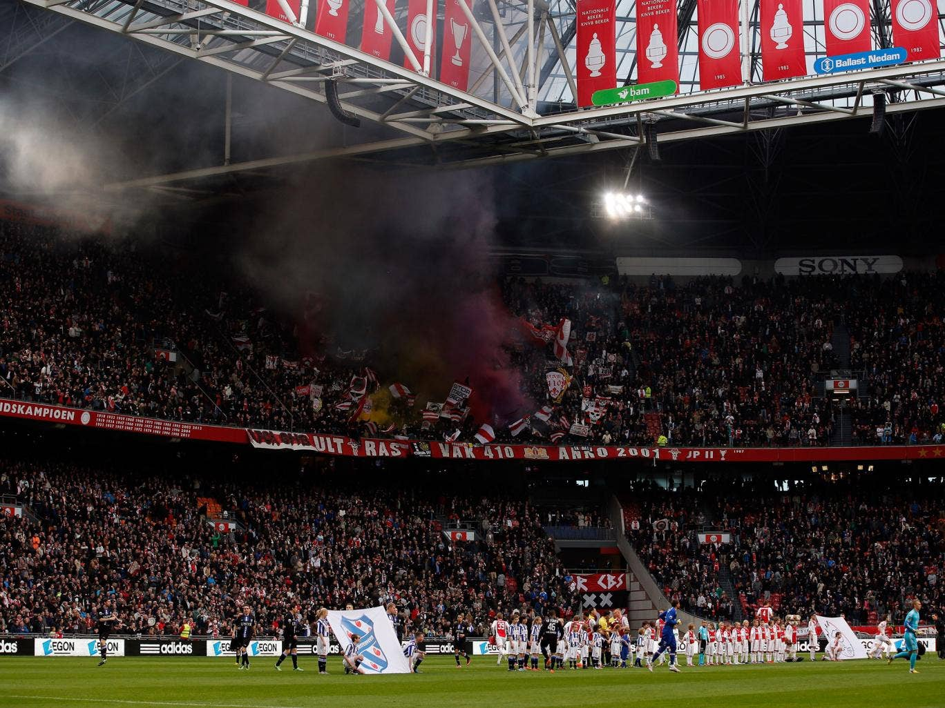 Ajax fans at the Amsterdam ArenA