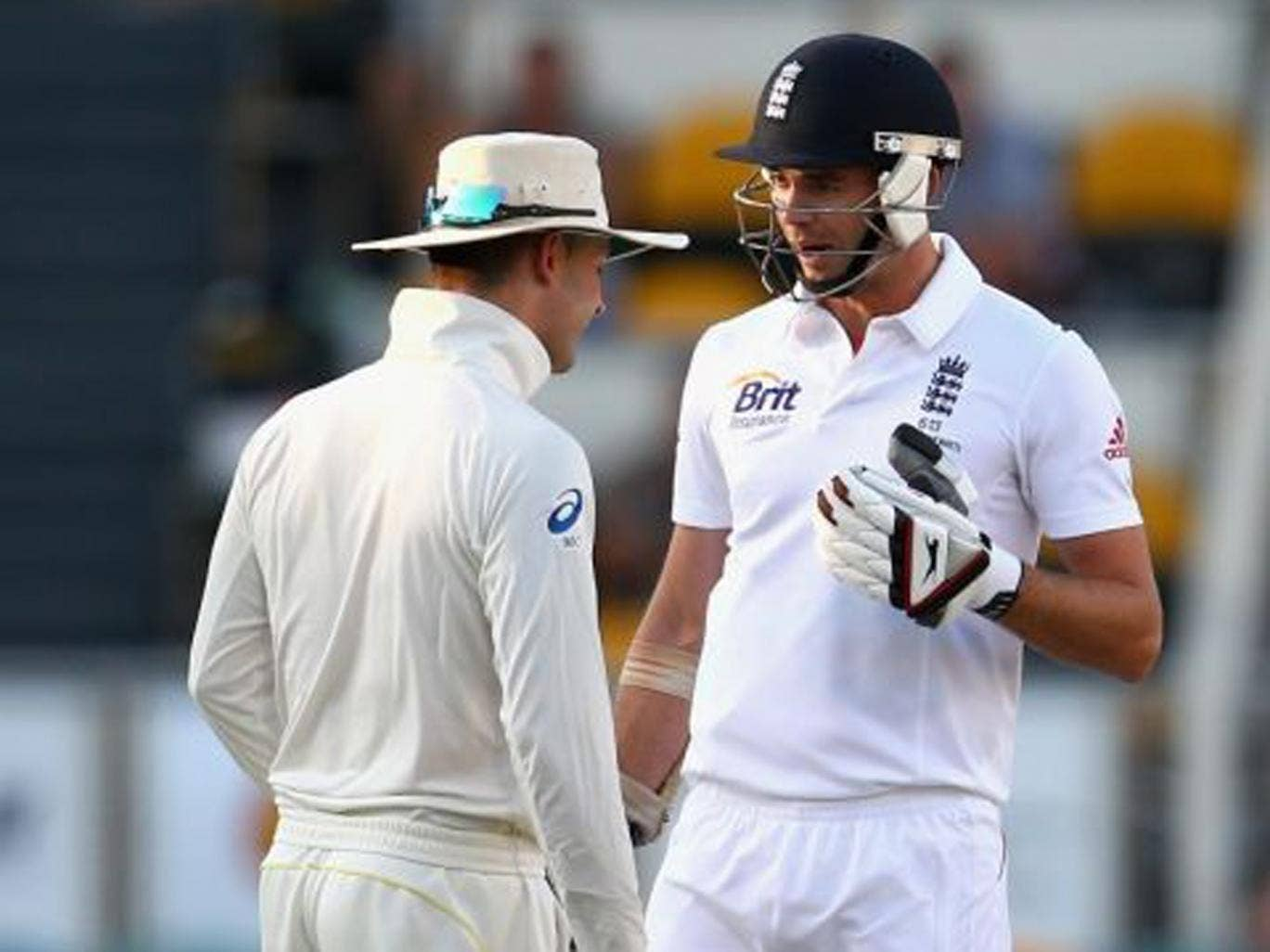 Aussie captain Michael Clarke, left, courteously advised our own Jimmy Anderson to 'get ready for a broken f****** arm'