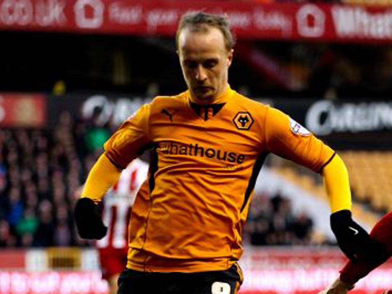 Leigh Griffiths pictured during Woles' 2-0 victory against Tranmere on Tuesday before his goal