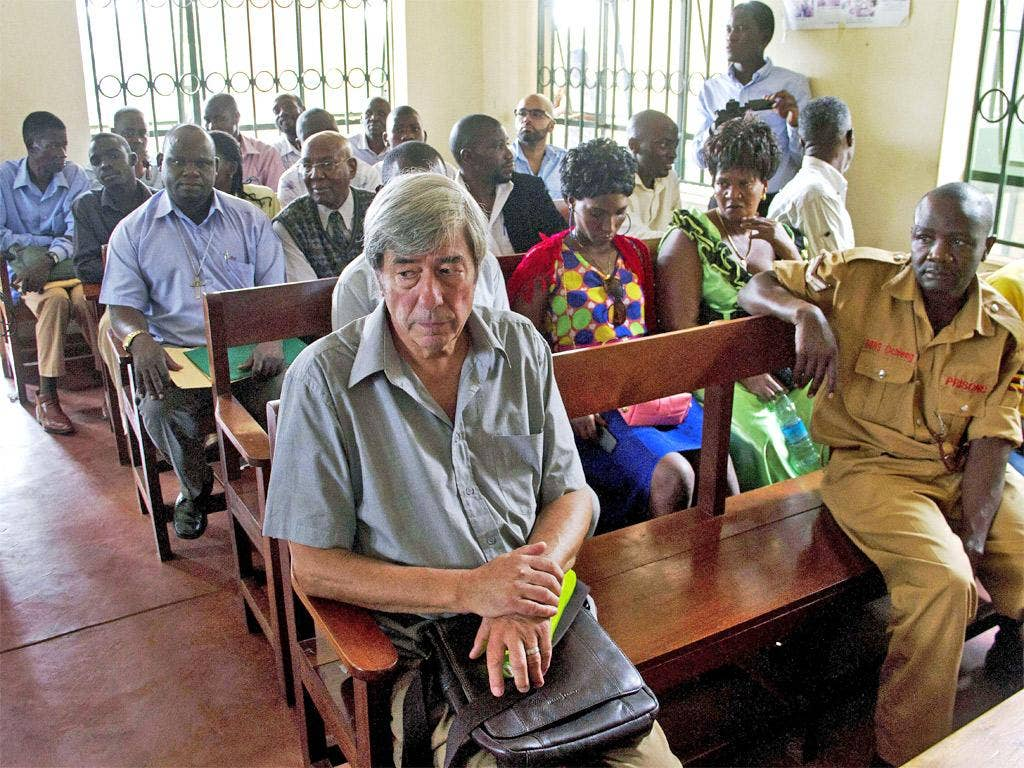 Bernard Randall, 65, pictured in Entebbe chief magistrate's court, has been denied an extension of his visa