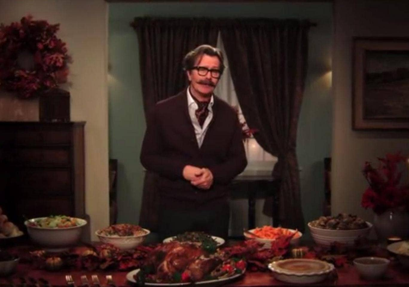 Gary OIdman delivers his anti-Thanksgiving message to the US