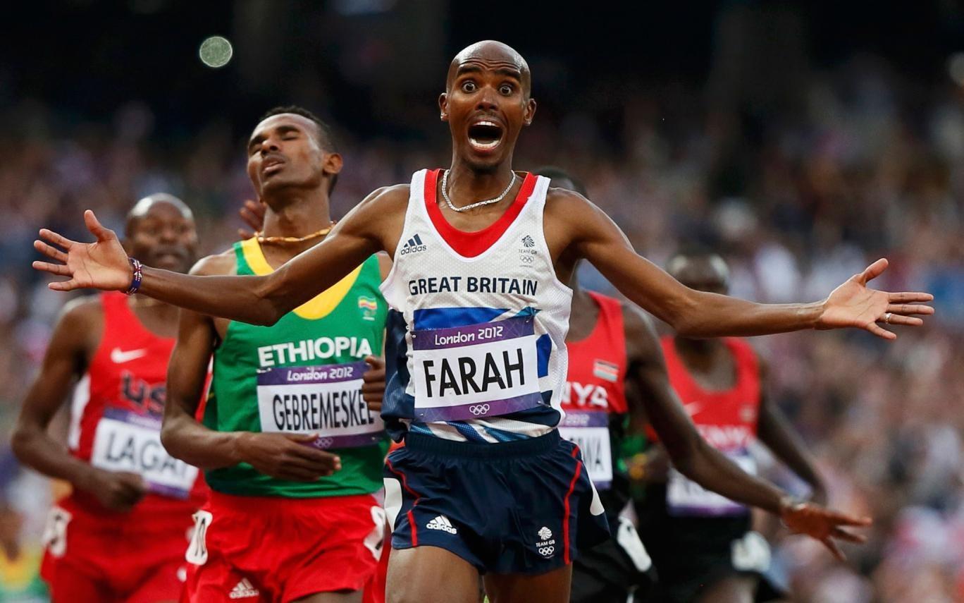 Mo Farah winning the men's 5,000m final at the London 2012 Olympics