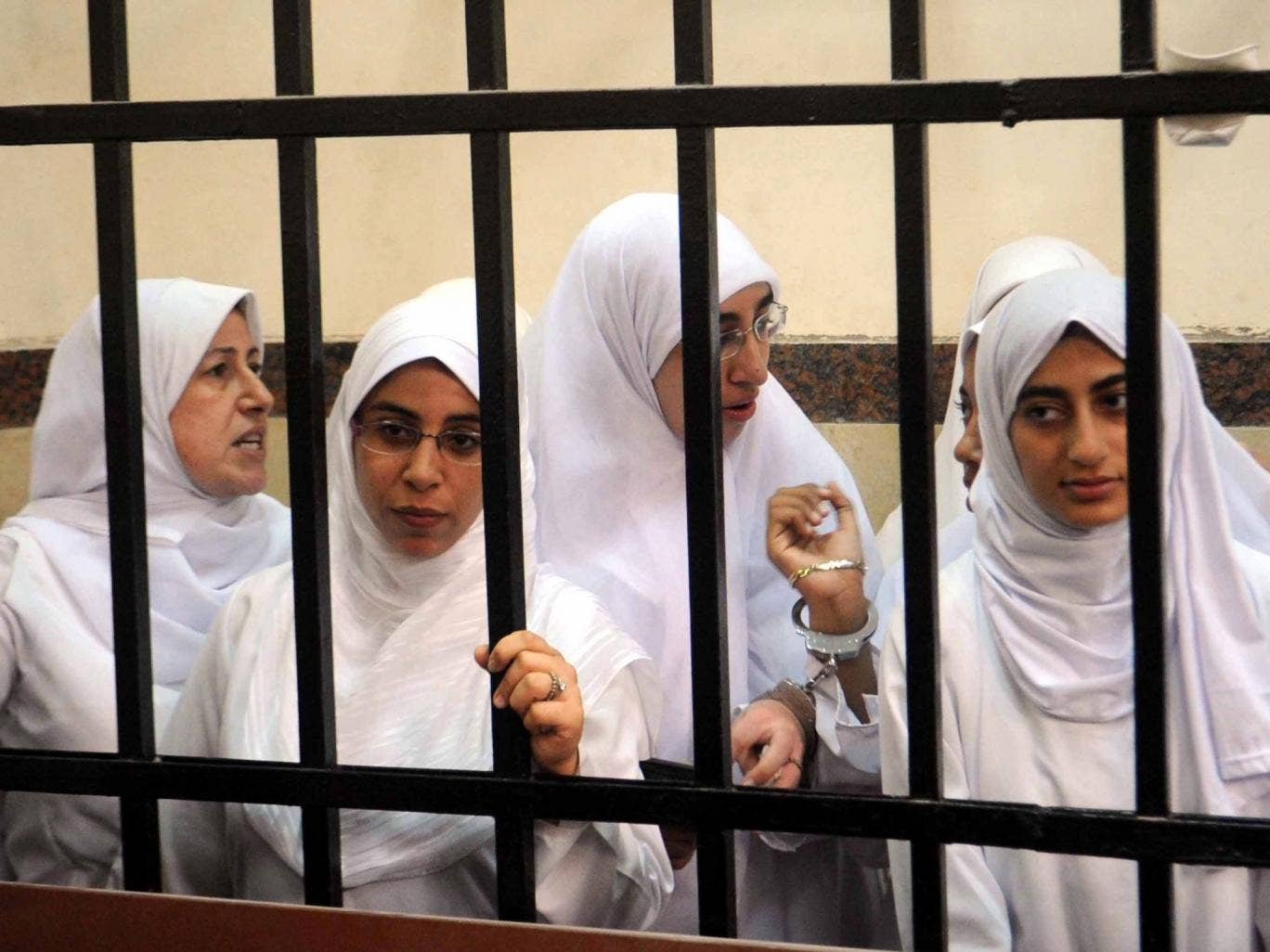 Some of the 21 Islamist women and girls who were arrested for demonstrating in Alexandria. The adults were each jailed for 11 years while the teenagers were sent to children's homes