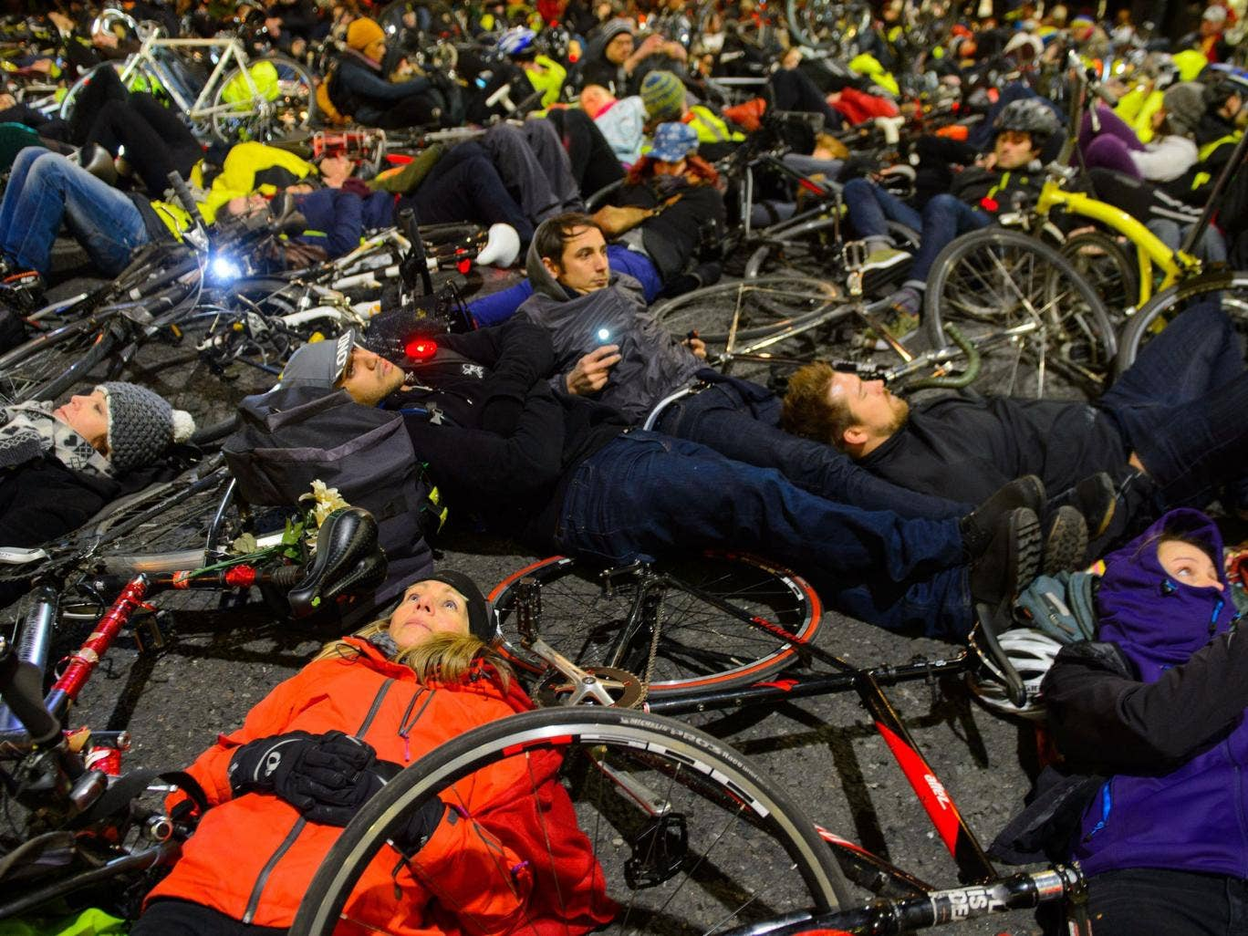 Cyclists took part in a 'die-in' protest in London
