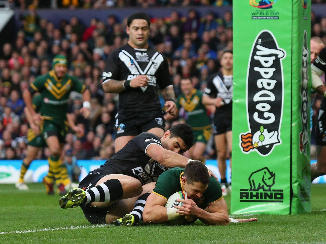 Billy Slater scores the opening try for Australia in their Rugby League World Cup final triumph over New Zealand